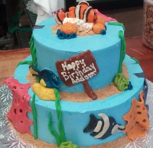 Two Tiered Ocean Themed Birthday Cake